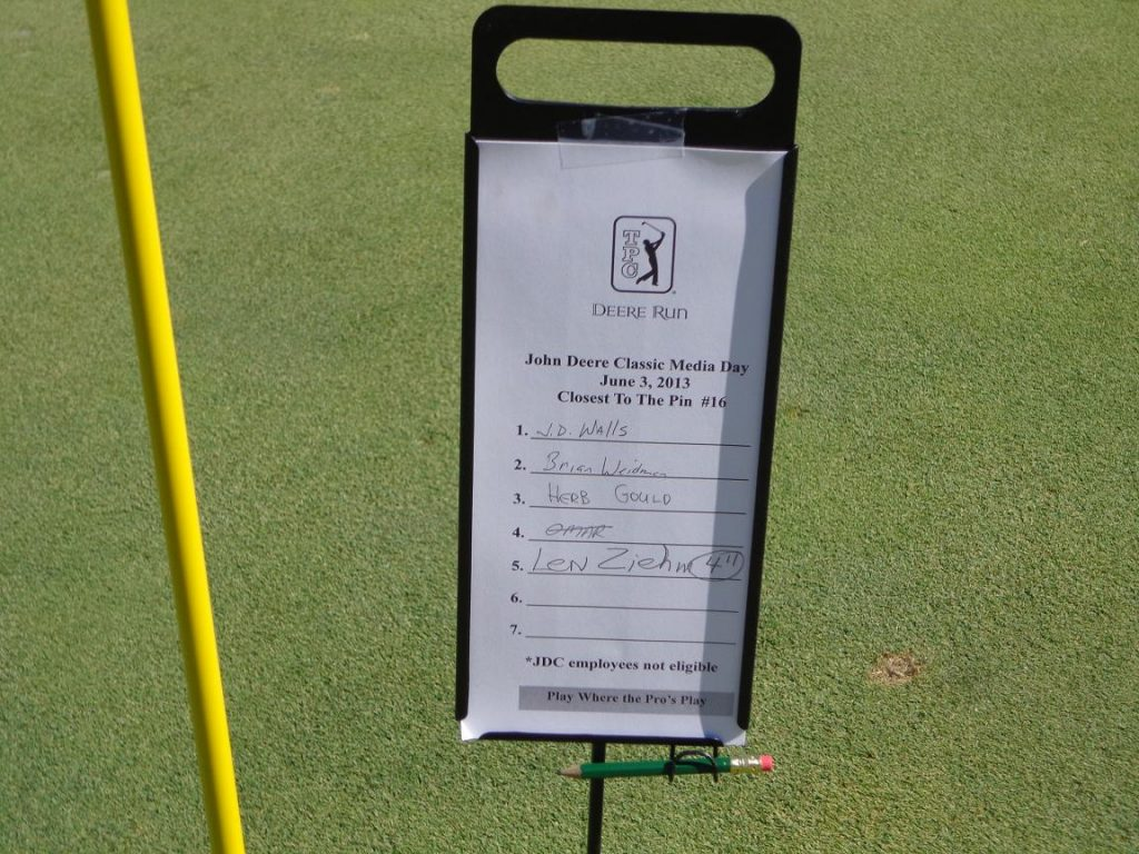 Guess who won the closest-to-the-pin contest (nearly with a hole-in-one) at the 16th hole at TPC Deere Run during the 2013 John Deere Classic media outing?