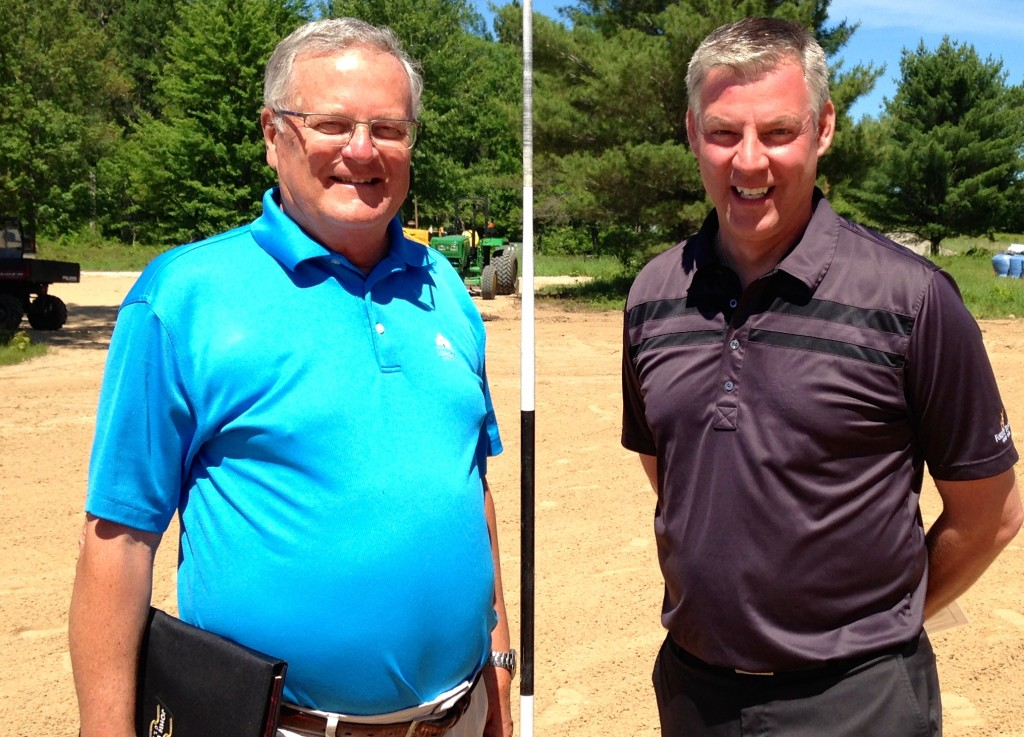 Checking out the under-construction Tom Doak course at Michigan's Forest Dunes with general manager Todd Campbell.