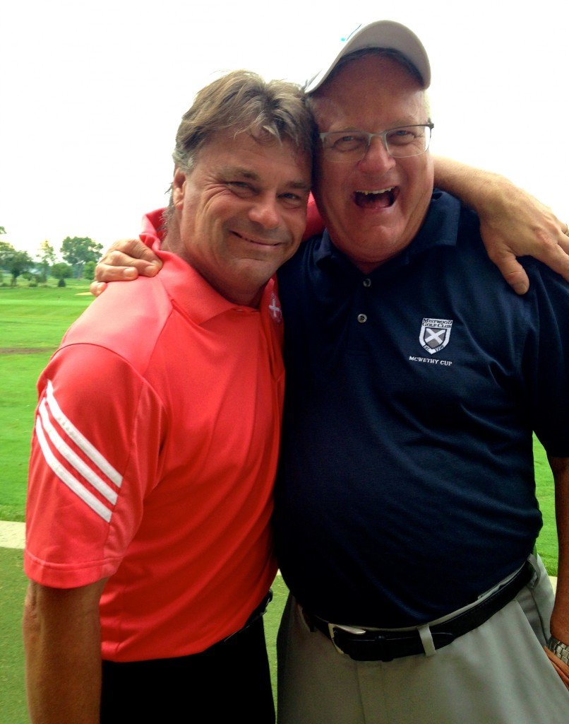 Celebrating at the Illinois Women's Open Pro-Am with Mistwood director of marketing Dan Phillips.