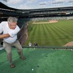 Hitting from the right field bleachers at Wrigley Field to a target green in a hole-in-one contest that promoted the 2011 BMW Championship at Cog Hill.