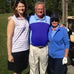 With LPGA vice president Kelly Hyne (left) and long-time staffer Carol Kilian at LPGA headquarters.